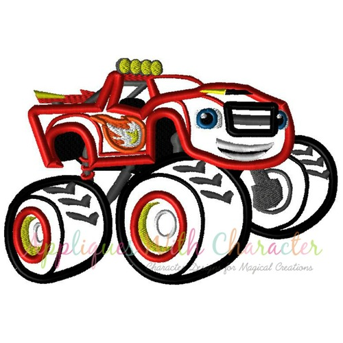 500x500 Blaze Monster Truck Applique Design By Appliques With Character