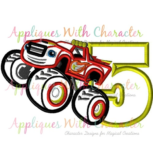 500x500 Blazing Monster Truck Five Applique Design By Appliques With Character