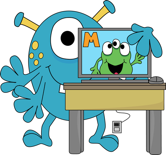 550x513 Monster With A Computer Clip Art