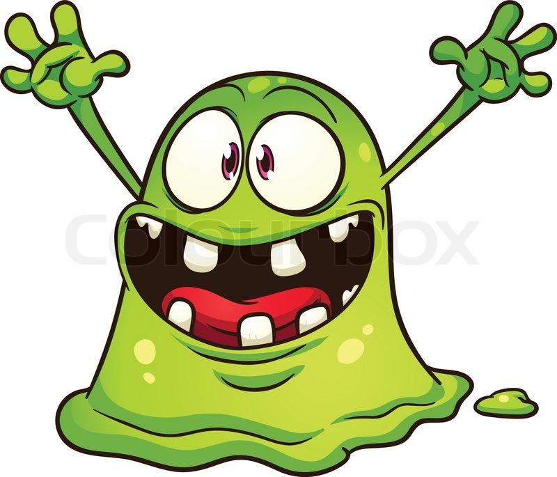 800x685 Cartoon Green Blob Monster. Vector Clip Art Illustration