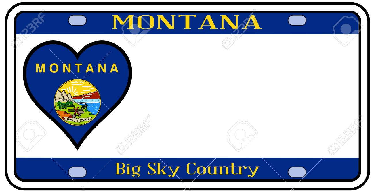 1300x672 Montana State License Plate In The Colors Of The State Flag