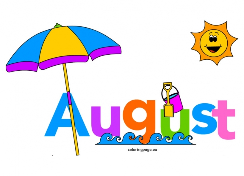 820x593 Month Of August Clip Art Coloring Page Throughout August Clipart