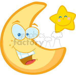 300x300 Royalty Free Smiling Crescent Moon And Smiling Star 379654 Vector