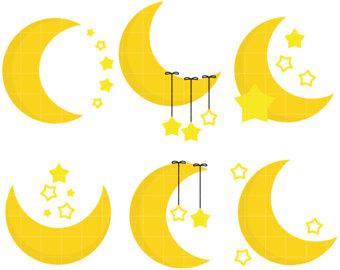 340x270 Moon Stars Clipart Etsy