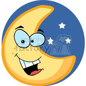 300x300 Royalty Free Smiling Moon Character With Stars 379808 Vector Clip