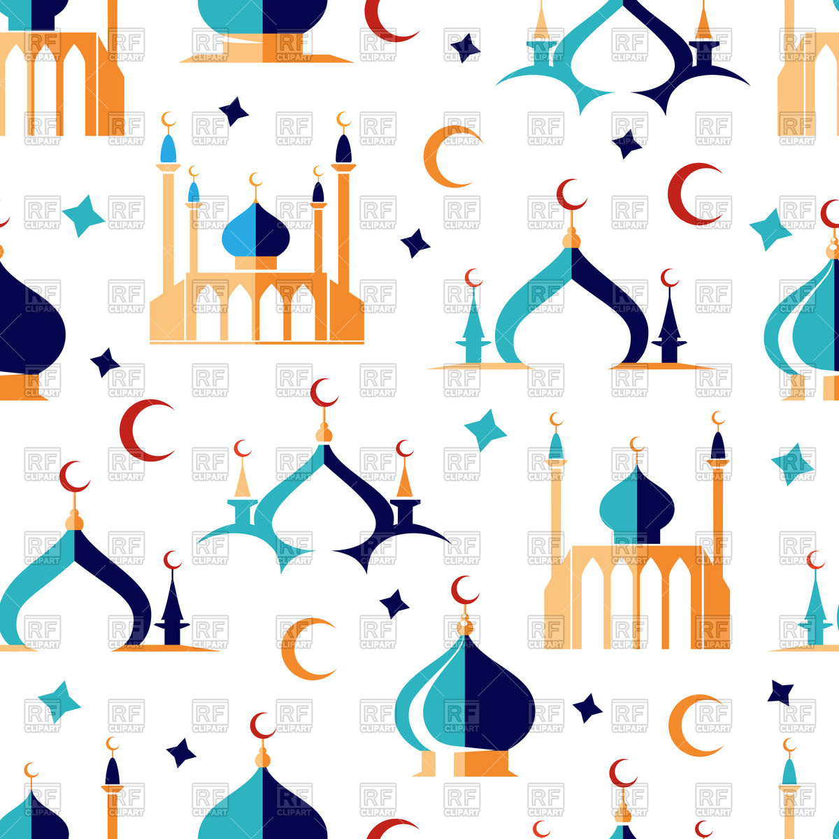 1200x1200 Arabic Seamless Pattern With Moon Stars And Mosque Royalty Free