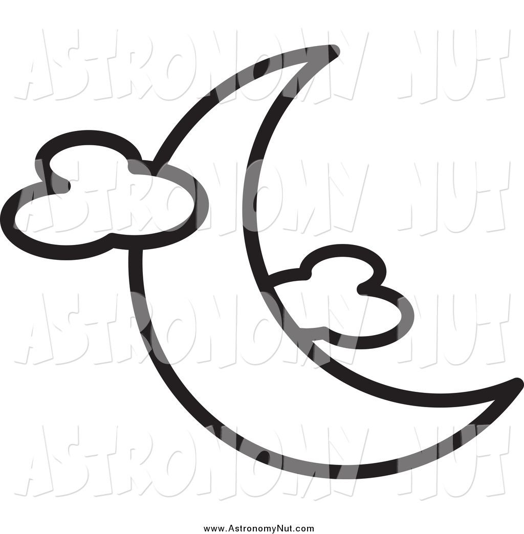 1024x1044 Clipart Of A Black And White Crescent Moon With Clouds By Lal