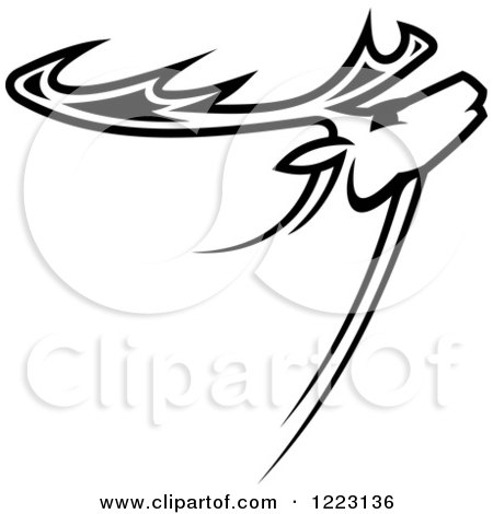 450x470 Clipart Of A Sketched Black And White Moose Head In Profile