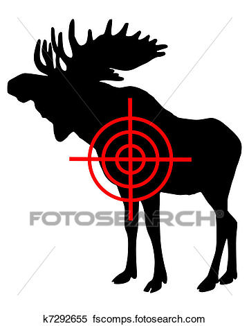 360x470 Clipart Of Moose Crosshair K7292655