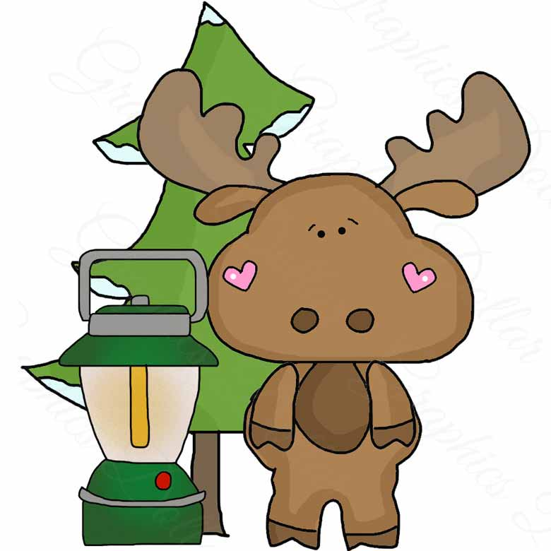 780x780 Camping With Little Moose Clip Art Graphics Dollar