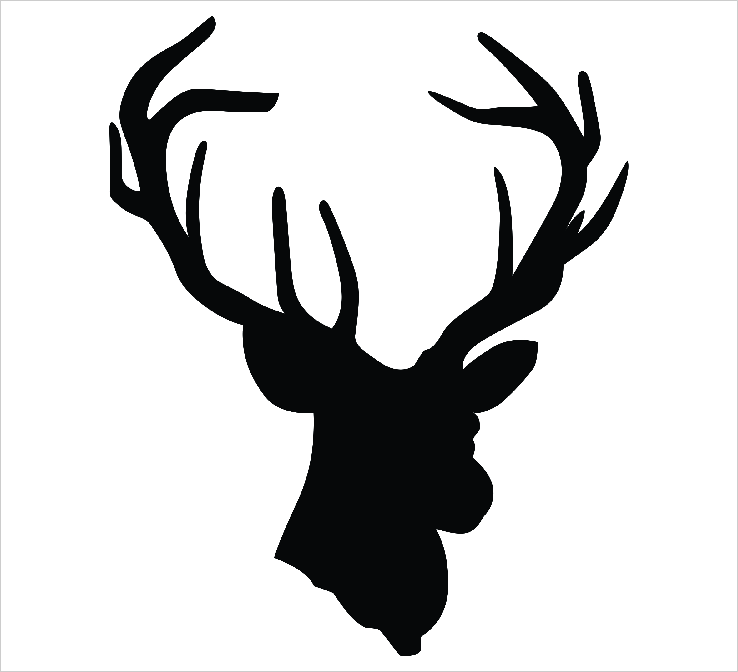 2360x2151 White Tailed Deer Clipart Stag Head