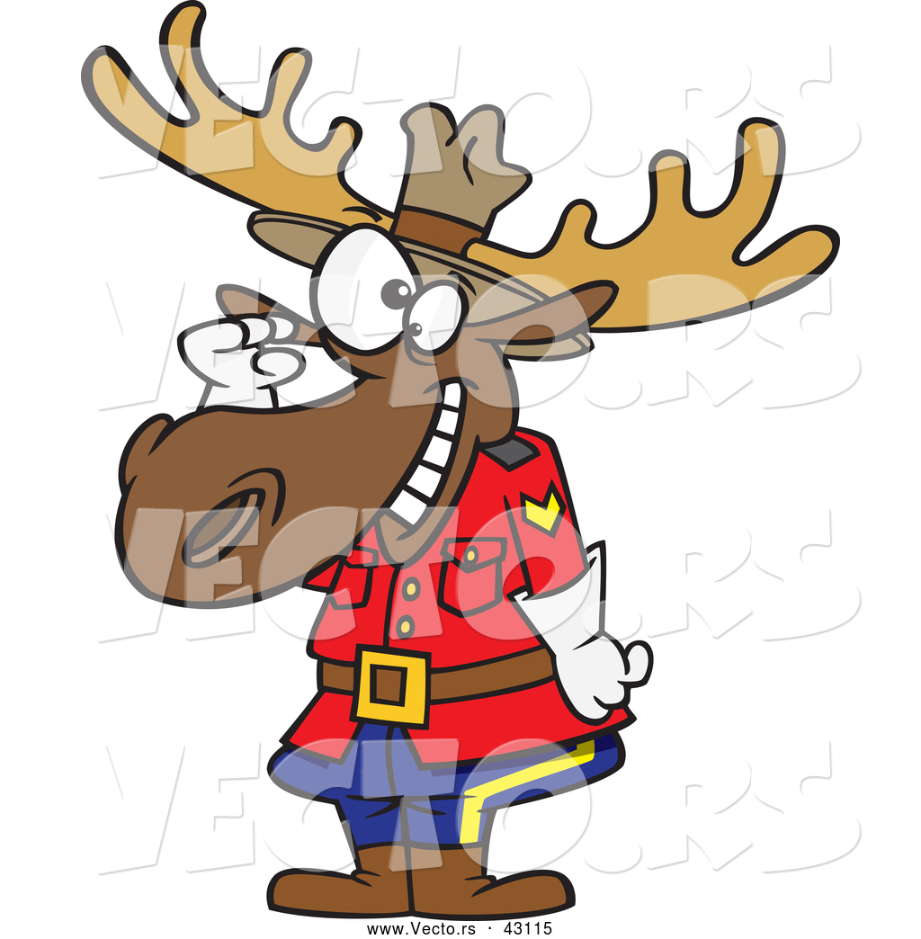 1024x1044 Vector Of A Cartoon Mountie Moose Saluting By Toonaday