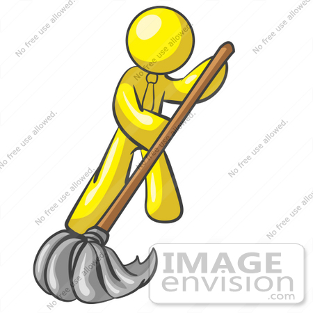 450x450 Clip Art Graphic Of A Yellow Guy Character Mopping