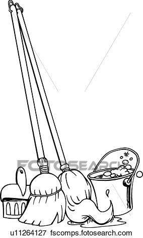 284x470 Clip Art Of Mop Broom Bucket U11264127