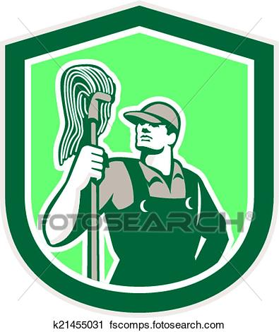 395x470 Clipart Of Janitor Cleaner Holding Mop Shield Retro K21455031