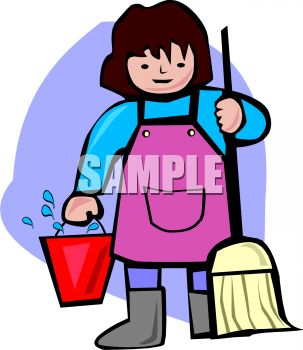 303x350 Woman Holding A Mop And Bucket