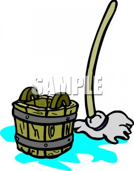 274x350 Cartoon Wooden Bucket And Mop