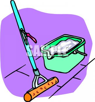 326x350 Sponge Mop And Plastic Bucket Filled With Sudsy Water