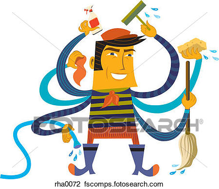 450x388 Clip Art Of A Man Multitasking And Cleaning With Many Arms Rha0072