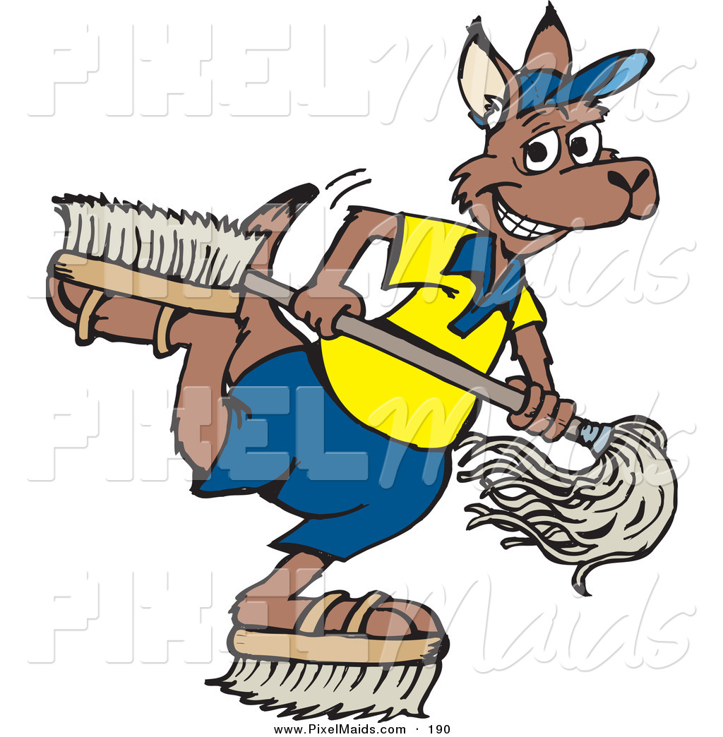 1024x1044 Clipart Of Happy Kangaroo Janitor Playing With Brush Shoesnd
