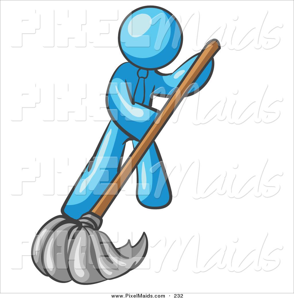 1024x1044 Clipart Of A Light Blue Businessman Wearing A Tie, Using A Mop