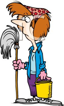 212x350 A Cartoon Woman With Mop And Bucket