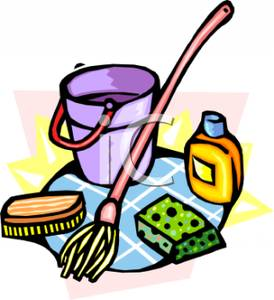 274x300 Mop With A Bucket And Sponges Clipart Picture