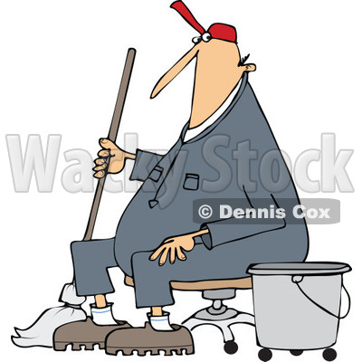 400x400 Royalty Free (Rf) Clip Art Illustration Of A Man Mopping In A Pink