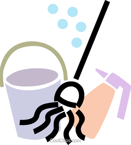 436x480 Mop And Pail With Household Cleaner Royalty Free Vector Clip Art