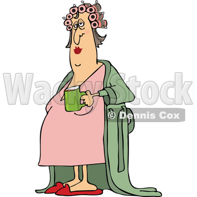 400x400 Of A Cartoon Chubby White Woman In A Robe, Wearing Curlers