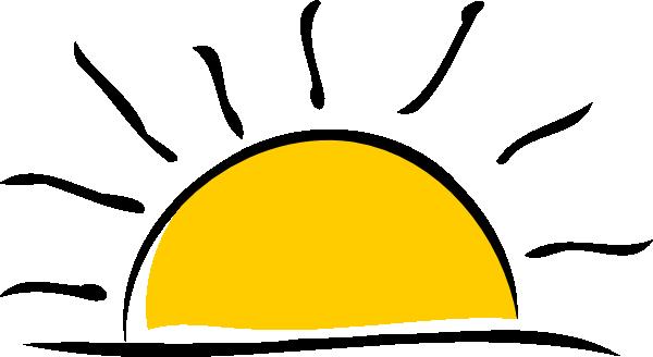 600x328 Sunrise Clipart Black And White
