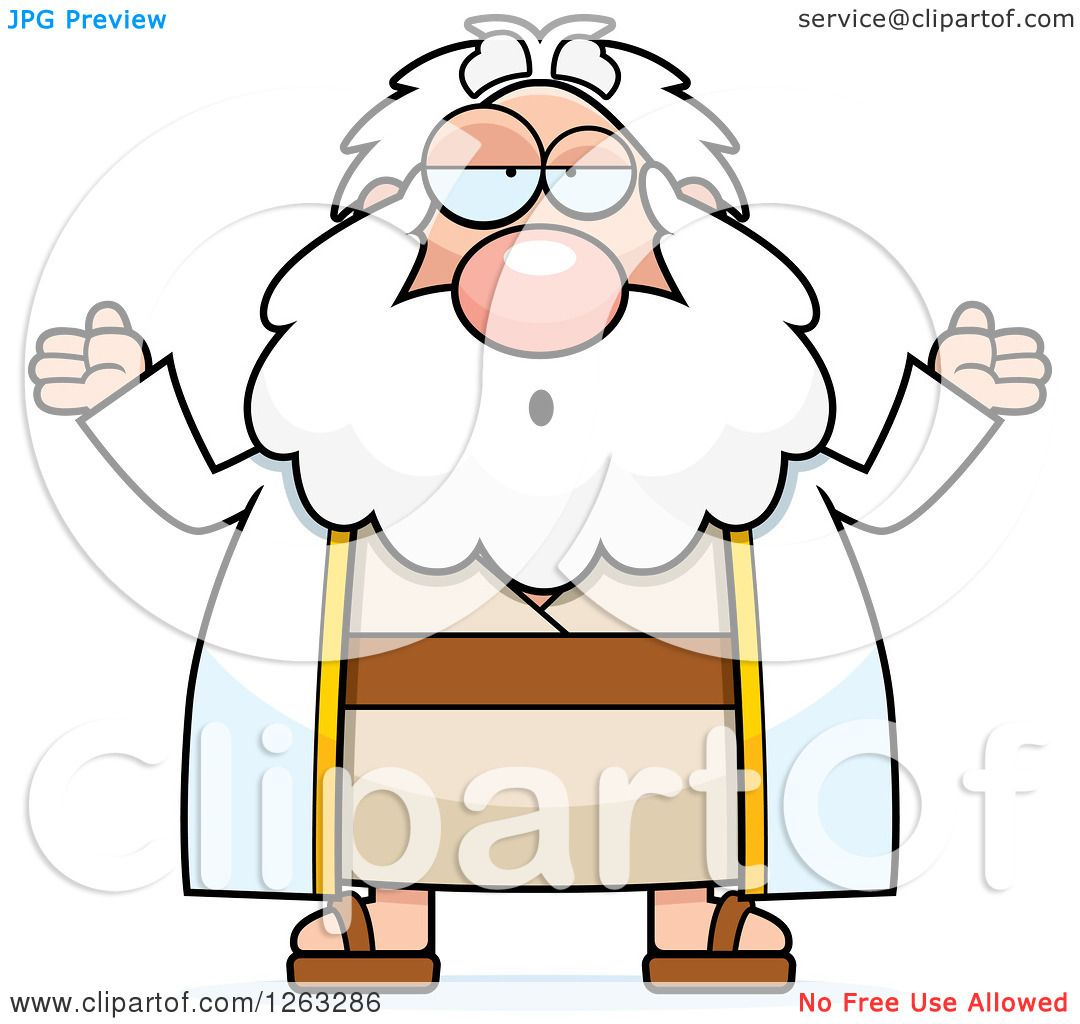 1080x1024 Clipart Of A Cartoon Careless Shrugging Chubby Moses
