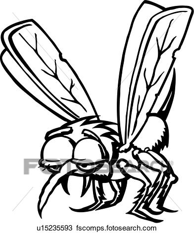 392x470 Clipart Of , Cartoon, Fang, Insect, Mosquito, Cartoons, Fangs