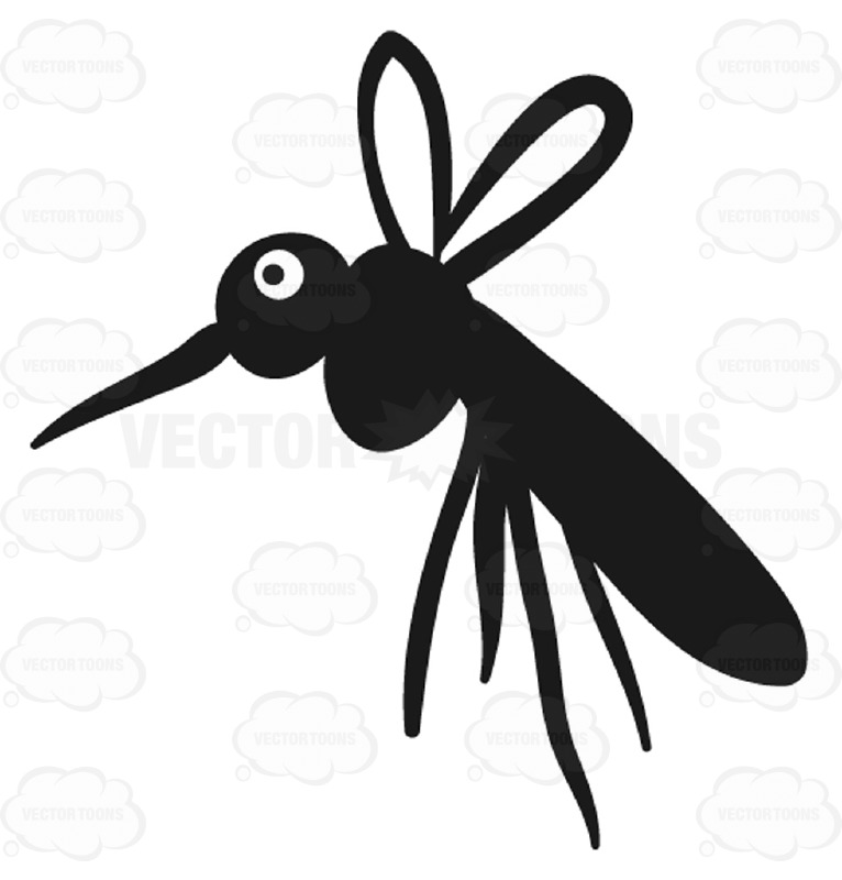 766x800 Closeup Of Black Mosquito Bug Insect Facing Left Cartoon Clipart