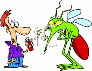 300x234 Clipart Of A Scared Person Spraying Insect Repellent On A Huge