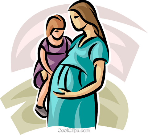 480x438 Pregnant Mother And Young Child Royalty Free Vector Clip Art
