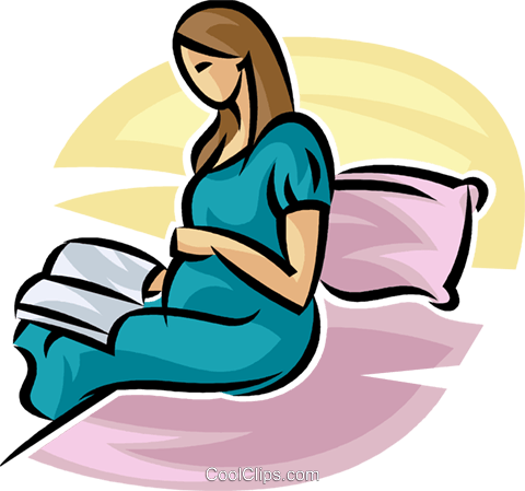 480x449 Pregnant Mother Reading A Book In Bed Royalty Free Vector Clip Art