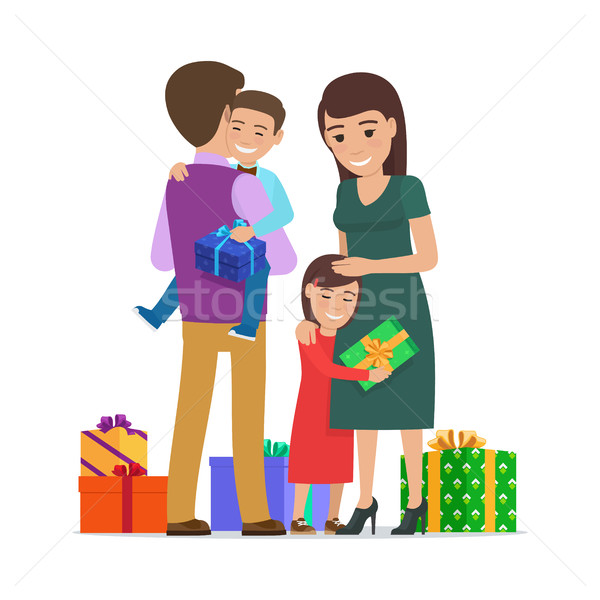 600x600 Family Mother Father Son Daughter And Presents Vector Illustration