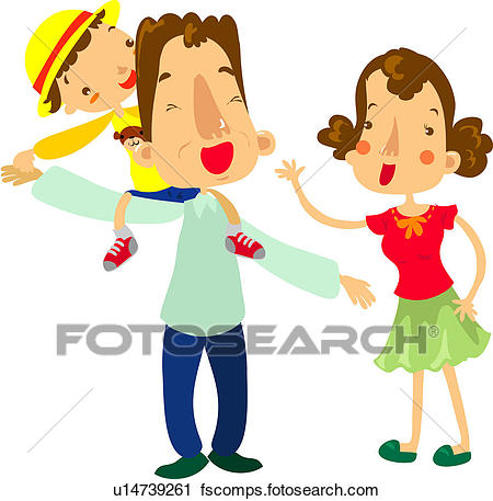 450x457 Clipart Of Mother, Holing Hands, Riding, Piggyback, Father