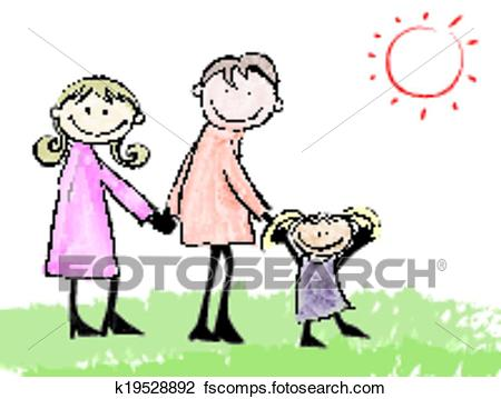 450x359 Clipart Of Father, Mother, Daughter And Cat Cartoon Illustration