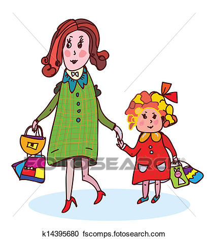 410x470 Clipart Of Mother And Child Shopping Funny Cartoon K14395680