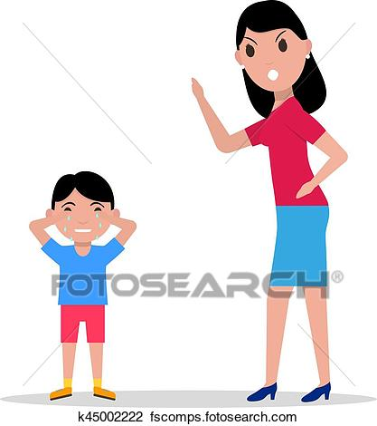 417x470 Clipart Of Vector Cartoon Angry Mother Scolding Her Child