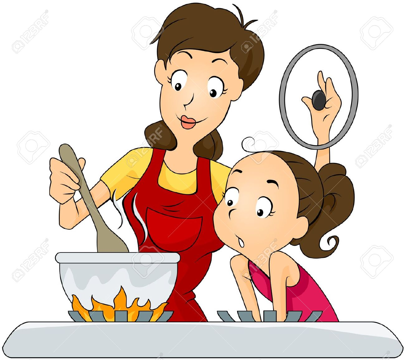 1300x1156 Mother And Baby Clipart Cooking