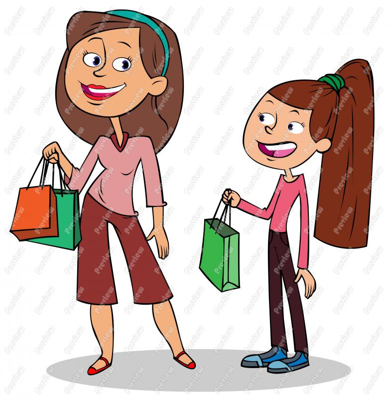 787x800 Mother And Daughter Shopping Clip Art
