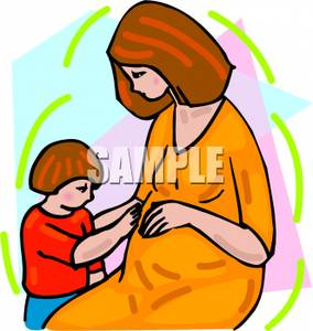 284x300 Art Image A Child Touching His Pregnant Mother's Belly