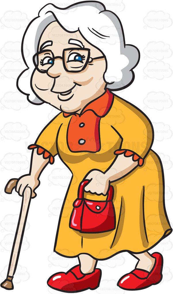 602x1024 A Charming Grandmother Going Out For A Walk Cartoon Clipart