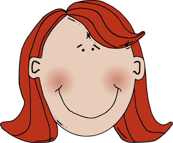 600x498 Womans Face With Red Hair Clip Art