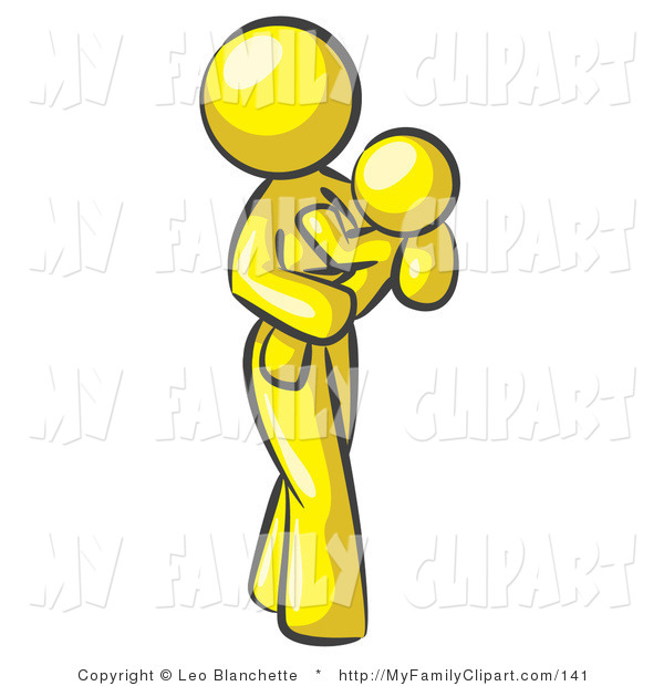600x620 Clip Art Of A Yellow Mother Carrying Her Child In Her Arms
