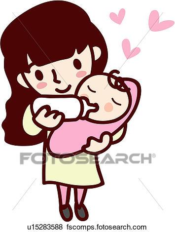 355x470 Clip Art Of Woman, Mother, Job, Baby, Human U15283588