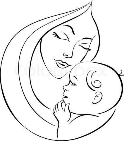 424x480 Mother And Baby Clipart Baby Drawing